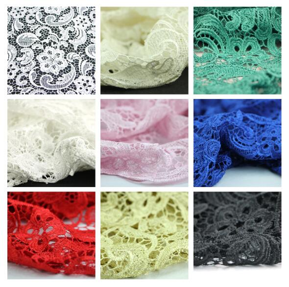 Water-soluble lace fabric hollow three-dimensional garment embroidery summer white black dress