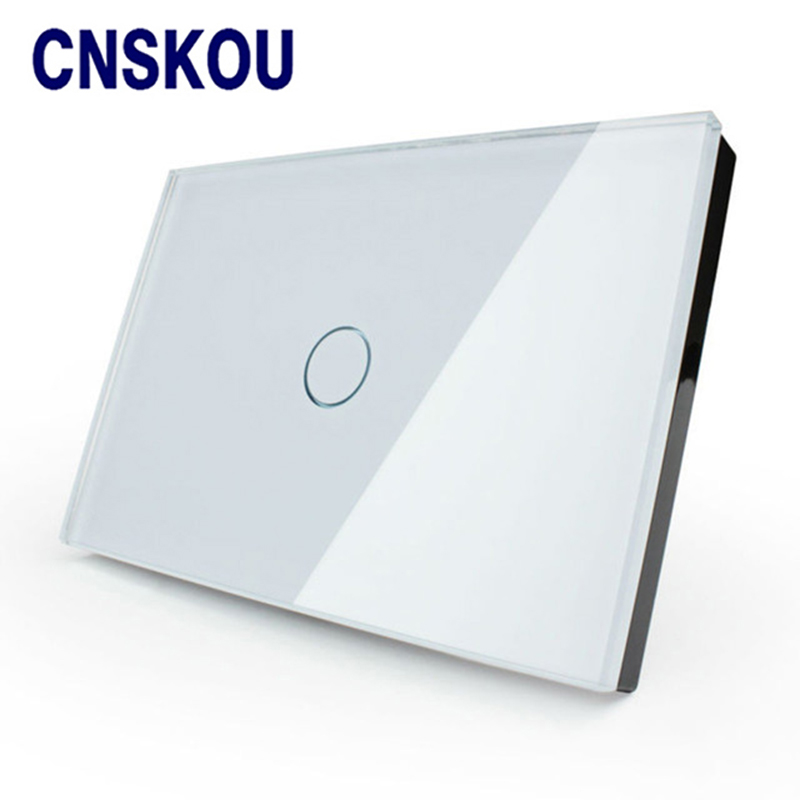 Cnskou 2017 Smart home Wall Touch Switch White Crystal Glass Panel AC110~250V LED 1Gang 1Way US Light LED  Touch Screen Switch funry uk standard wall switch crystal glass panel 2 gang 1 way smart home touch switch ac 110 250v 1000w for light