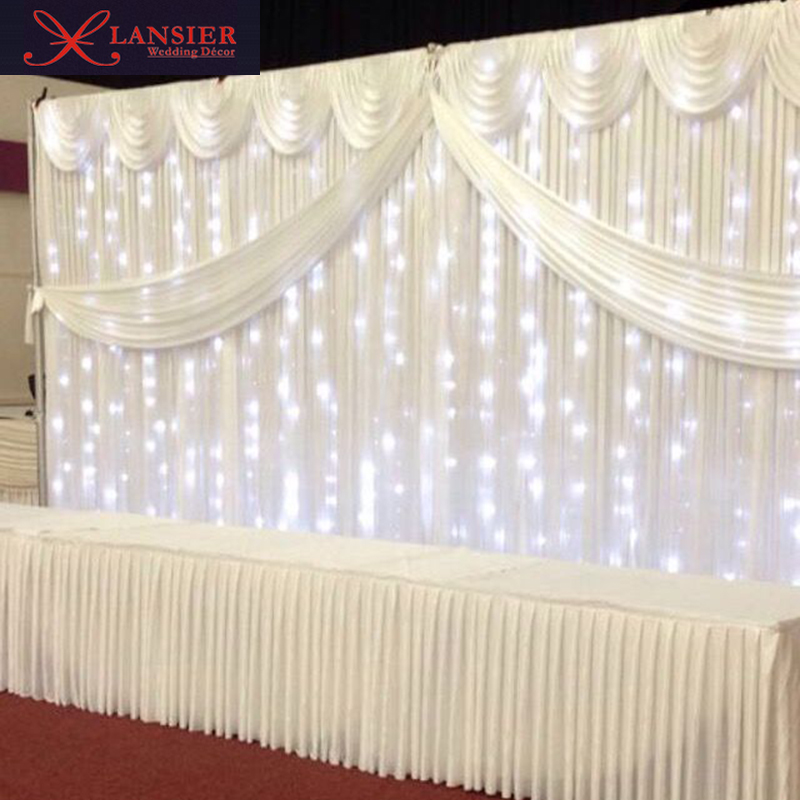 White wedding backdrops with swag and light ready made wedding backdrops curtain event party decoration 3x6