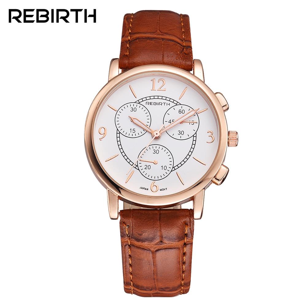 Ny Rebirth Fashion Casual armband klockor företag läderrem Femme relogio feminino klockor kvinnor Lyxig enkel design