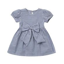 ARLONEET Summer Baby Girls Clothes Infant Toddler Kids Clothes Stripe Bow Princess Outfits Dress FE5 Dropshipping