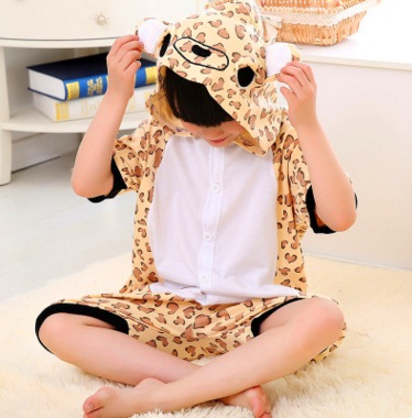 Childrens conjoined pajama cotton spring and summer day cartoon animal short - sleeve leopard-print bear boys and girls home