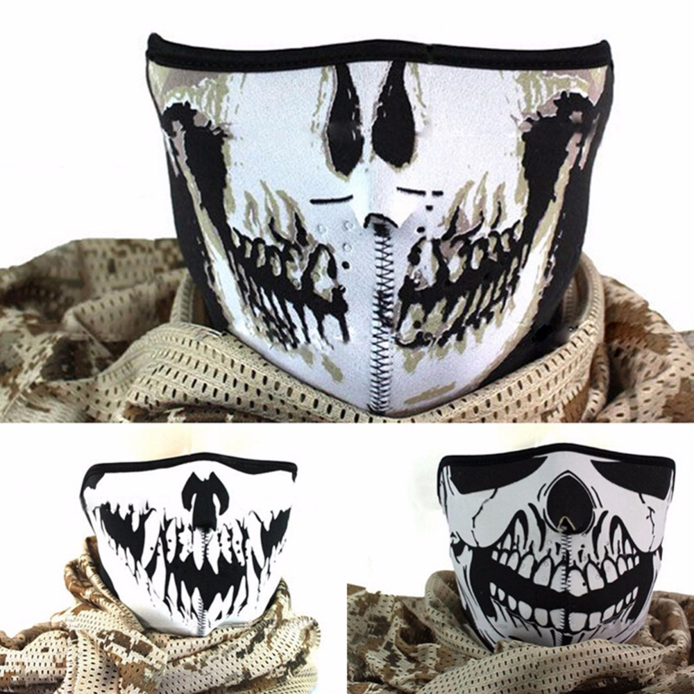 1Pc 3 Styles Outdoor Supplies Skull Neoprene Half Face Mouth Mask Ski Snowboard Motorcycle Biker Sport Protection