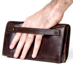 Image 2 - CONTACTS cartera de mano de piel auténtica anti RFID para hombre, billetera larga informal de alta capacidad, portatarjetas, carteras masculinas