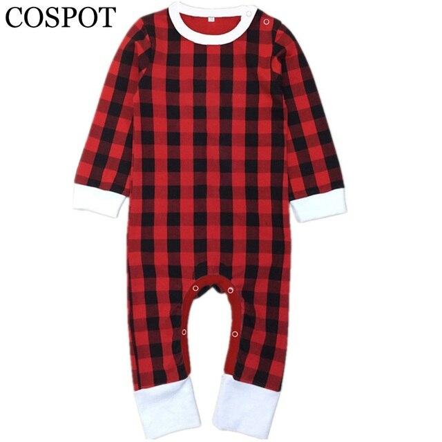 cospot baby girls boys red plaid christmas romper girl boy winter autumn jumpsuit toddler reindeer pajamas - Plaid Christmas Pajamas