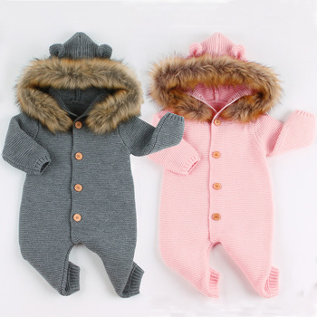 2019 Winter Infant Rompers Long Sleeve Knitted Baby Girls Jumpsuits Fur Newborn Boys Clothes Autumn Unisex Overalls Onesie