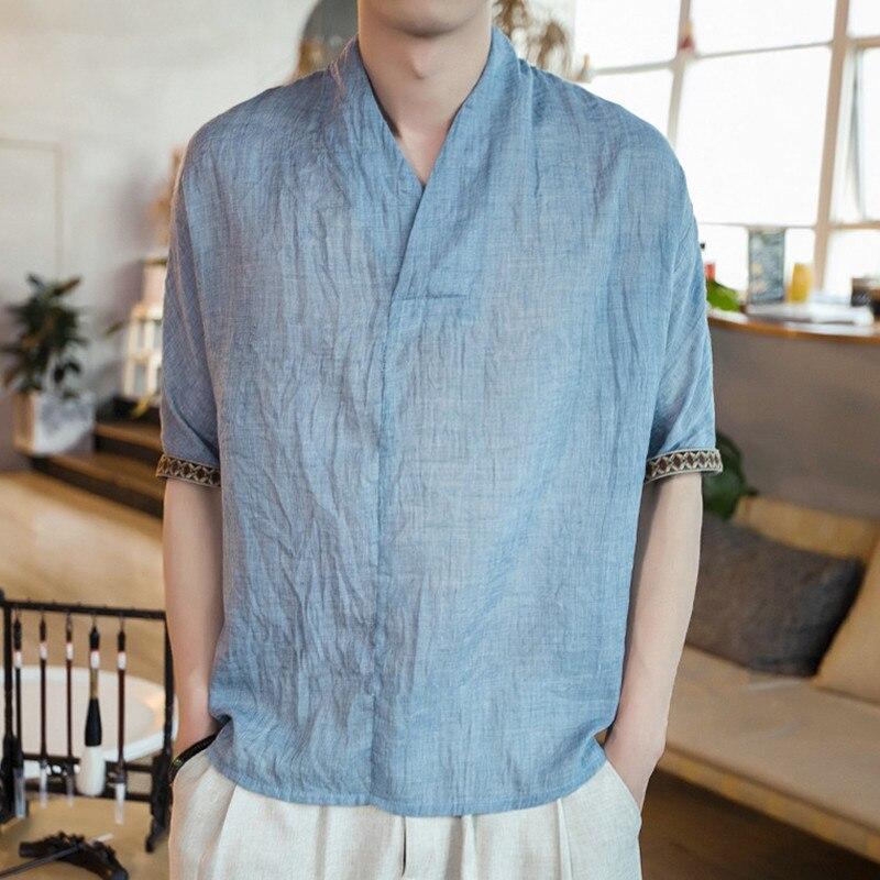 Chinesischen Stil 2018 Sommer Baumwolle Leinen t-shirt Männer Lässig Dünne Atmungs Vintage Blumendruck V-ausschnitt T-shirt Plus Größe Kleidung