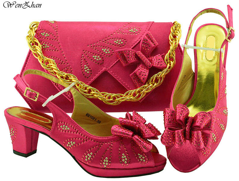 Fuchsia Italian Women Wedding Shoes and Bag Set Decorated With Flower Nigerian Shoes and Matching Bags 6.5cm For Women B811-24Fuchsia Italian Women Wedding Shoes and Bag Set Decorated With Flower Nigerian Shoes and Matching Bags 6.5cm For Women B811-24