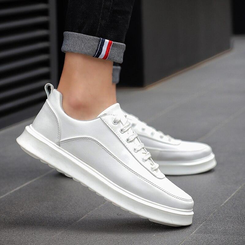 Hommes Appartements 3 Caoutchouc Cuir Black Casual Glissement Up 2018 white Pour En Automne Mode Sneakers Lace Chaussures Semelle Sur Nouveau Le UqXTwC1