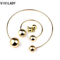 3pcs Set Statement Double Pearl Jewelry Sets Women Collar Necklace Earrings Bangle Gold Silver Black White