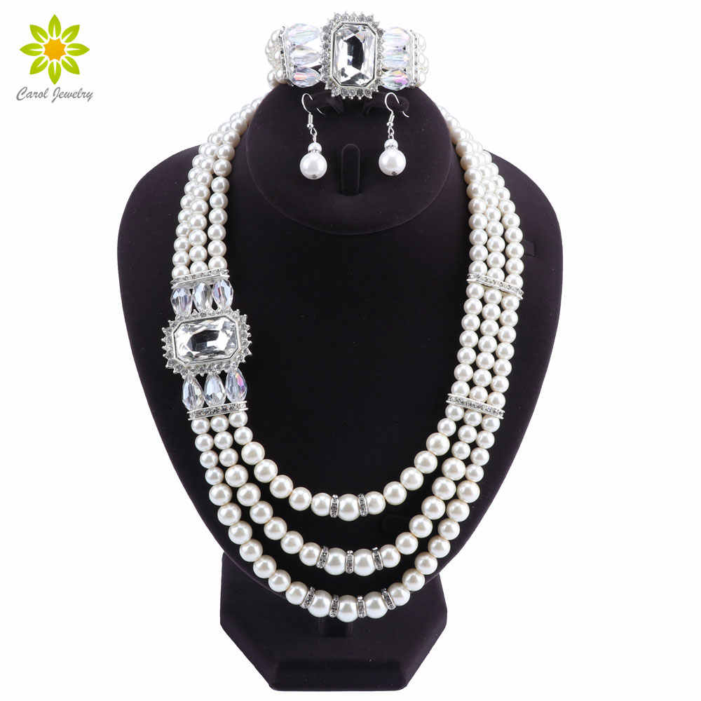Imitation Pearl Wedding Bridal Jewelry Sets Women Bride Wedding Party Jewelry Accessories Crystal Bracelet Earrings Necklace