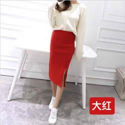 Для женщин хлопковой нити Тонкий был тонкий юбка разрез стрейч Универсальный посылка хип темперамент юбки подходят до 40 кг-55 кг