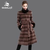 SISILIA 2016 Новых женщин норки пальто, Настоящее меховой, Kролик шуба , Более длинные секции, мандарин воротник, Мода тонкий зимние шубы из натура