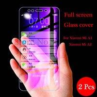 2 unids/lote vidrio templado para Xiaomi Mi A1 A2 5X 6X Protector de pantalla completa de la cubierta de película protectora del teléfono para Xiaomi Mi A1 A2 de vidrio