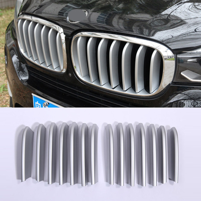 14pcs Front Grill Cover Trim ABS Chrome Sequins For BMW X5 X6 F16 F15 2014 2015 2016 2017 Car