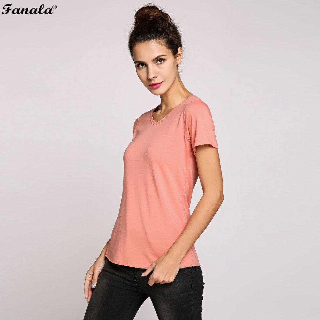 FANALA Women T Shirt 2017 Summer Tops Tees Ladies Short Sleeve Fashion T Shirt Women Solid Pink ...