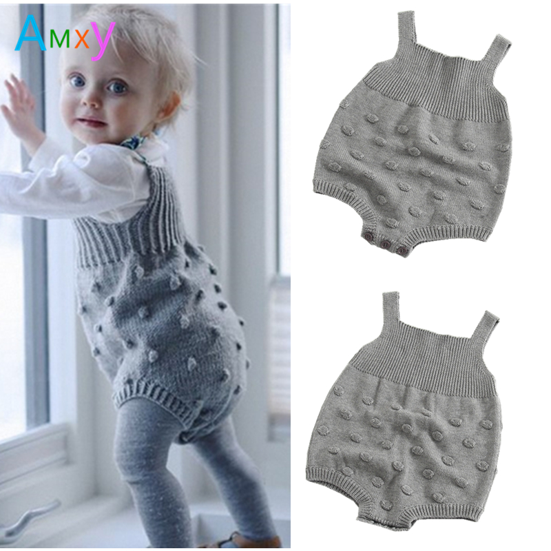 AIMEIXIUYI Baby Rompers Jumpsuit 2017 Autumn Toddler Infant Boys Girls Knitted Sweater Overalls Grey Climbing Clothes for Kids 2017 baby knitted rompers girls jumpsuit roupas de bebe wool baby romper overalls infant toddler clothes girl clothing 12m 5y