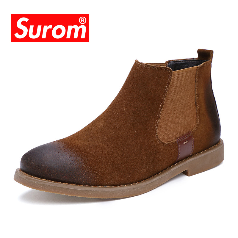 SUROM 2017 Vintage Chelsea Boots Suede Leather Men's Street Winter Shoes Plush Velvet Men Fashion Slip On Ankle high Boots