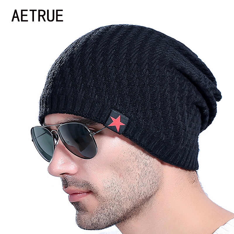 19cd5e0ea83 2018 Brand Men s Knit Hat Beanies Men Winter Hats For Men Bonnet Skullies Caps  Women Winter