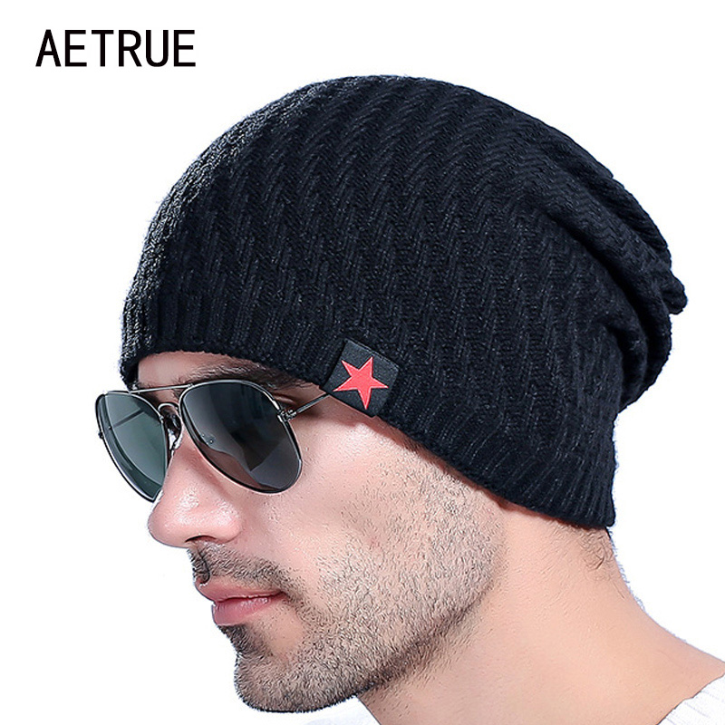 2018 Brand Men's Knit Hat   Beanies   Men Winter Hats For Men Bonnet   Skullies   Caps Women Winter   Beanie   Warm Thicken Baggy Mask Hats