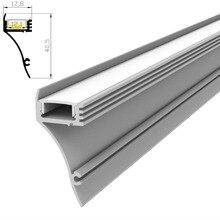10 м(10 шт) много, 1 м за штуку, настенный светодиодный алюминиевый профиль экструзии для светодиодных лент с молочным диффузным покрытием