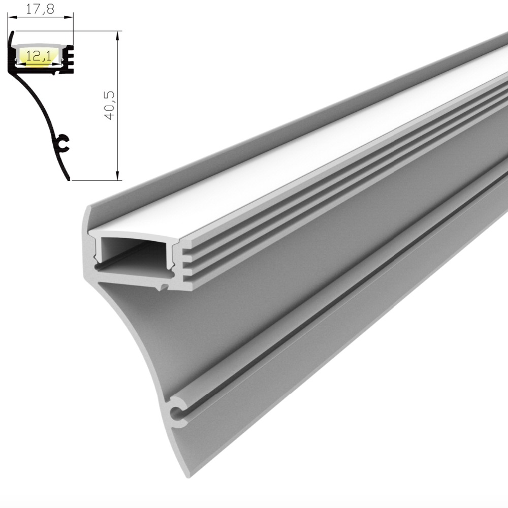 20m(10pcs) A Lot, 2m Per Piece, Wall Mounted Led Aluminum Profile Extrusion For Led Strips With Milky Diffuse Cover