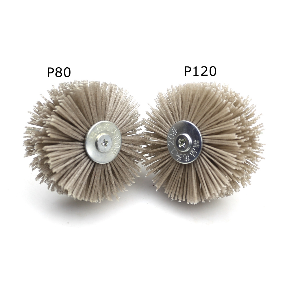 Image 4 - 4 pieces 85*35*6mm Drill Abrasive Wire Grinding Wheel Nylon Bristle Polishing Brush for Wood Furniture Mahogany Finish-in Abrasive Tools from Tools