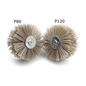 Image 4 - 4 pieces 85*35*6mm Drill Abrasive Wire Grinding Wheel Nylon Bristle Polishing Brush for Wood Furniture Mahogany Finish