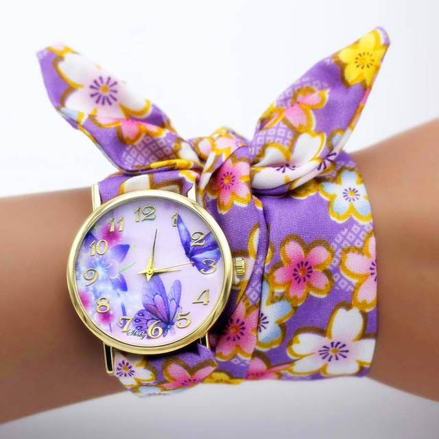shsby new unique Ladies flower cloth wristwatch fashion women dress watch high quality fabric watch sweet girls Bracelet watch 4