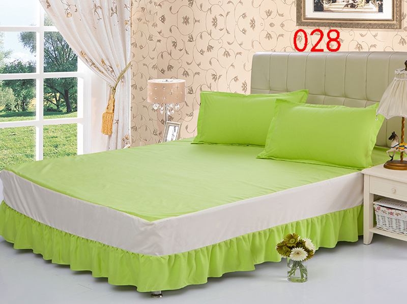 Apple Green Polyester Bed Skirt Mattress Cover Petticoat