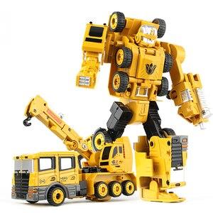Image 4 - 2 in 1 Legierung Engineering Transformation Roboter Auto Verformung Spielzeug Metall Legierung Bau Fahrzeug Lkw Montage Roboter Für Kid
