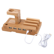 Bamboo Wood Charging Stand Bracket Docking Station Organizer Cradle Holder With USB 4 Port Micro HUB for iphone smart watch