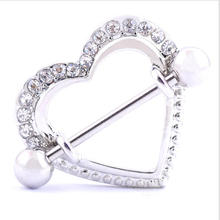 2PCS New Hot Sale Nipple Rings Heart White Crystal Stainless Steel Women Bar Barbell Piercing Shield Rings Sexy Body Jewelry