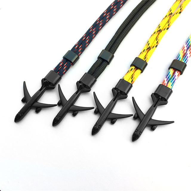2019 New Boeing Airplane Men Anchor Bracelet Rope Chain Black Charm Bracelets For Women Male Survival Aviation Style Sport Hooks 5
