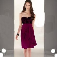 2014 Sweetheart A-Line Knee-Length Burgundy Chiffon Lace Bridesmaid Dresses Vestido Pra Madrinha Girls Junior Bridesmaid Dress