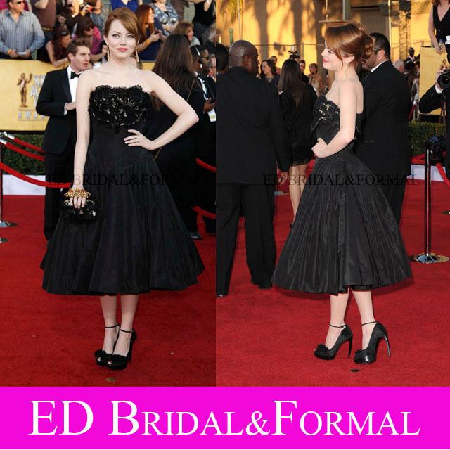 Emma Stone Vestido Screen Actors Guild Awards Tapete Vermelho Comprimento Chá Curto Celebridade Cocktail Party Vestido vestido de festa curto