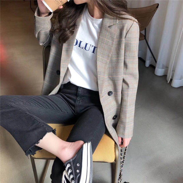 Office Ladies Notched Collar Plaid Women Blazer Double Breasted Autumn Jacket 2020 Casual Pockets Female Suits Coat 1