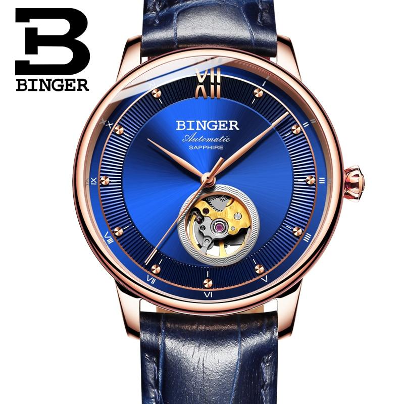 Suisse BINGER Montres Hommes Ultra-mince Japon 90S5 Automatique Movemt Tourbillon saphir Horloge Mécanique Montres B-1180-2