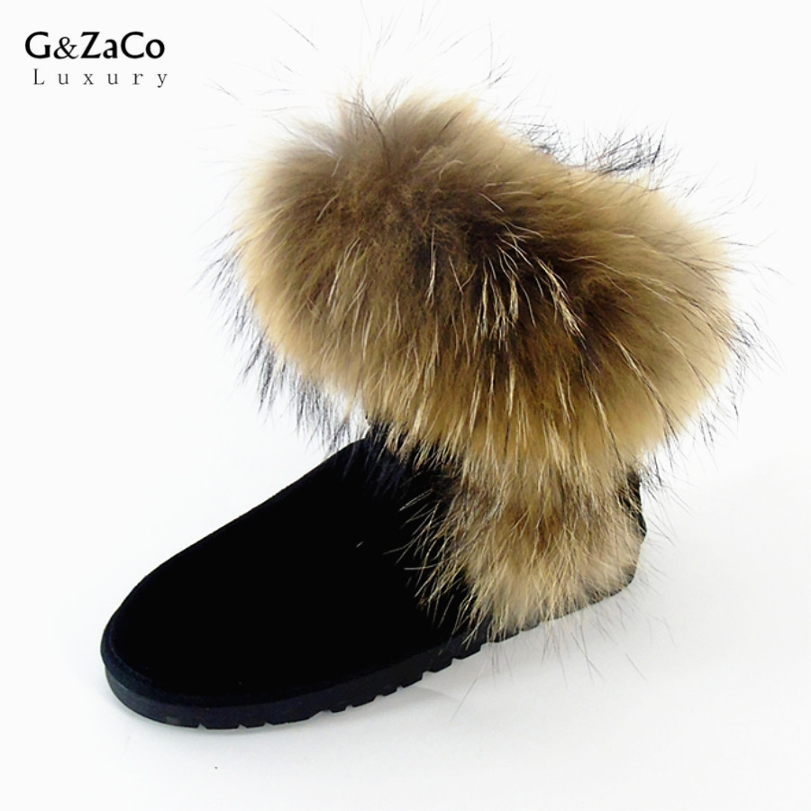 G&ZaCo Luxury Women Large Natural Fox Fur Snow Boots Waterproof Genuine Leather Flat Ankle Boots Winter Real Raccon Fur Boots