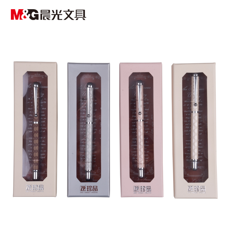 Gel ink pen 0.5 Tip M&G  AGPW1201 RollerBall pen Metal + PU embossed  high-grade Office stationery 12pcs/lot Free Shipping