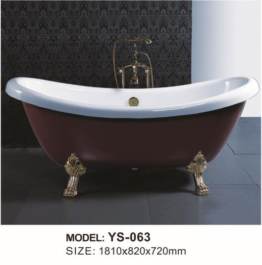 fiber glass+Acrylic Slipper bathtub with golden legs freestanding ...