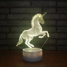 7 Color Change Cute Unicornio Led 3D Night Lights Unicorn Party Touch Usb Table Lamp Novelty AnimalLuminaria Baby Kids Toys Gift(China)