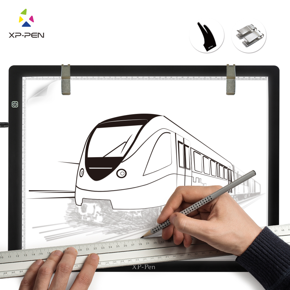 XP Pen CP A3 24 Inch LED Art Tracing Light Table Light Box Dimmable Drawing Pad X ray Pad with Paper Clips&Anti fouling Glove