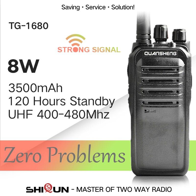QuanSheng TG 1680 8W Walkie Talkie Long Range 10KM UHF400 470MHz Professional 16 Channels 3500mah Long