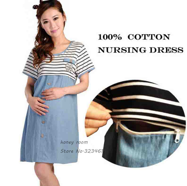 dd54d3ce019 Breast Feeding Dresses Maternity Clothes For Pregnant Women Pregnancy  Striped Nursing Clothes Tops Breastfeeding Gravida Summer