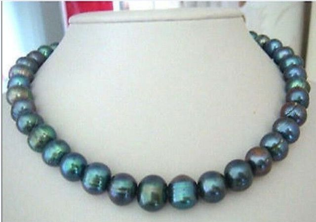 cd25a3fea19 Free shipping Free shipping 11-12mm tahitian peacock green pearl necklace  18inch