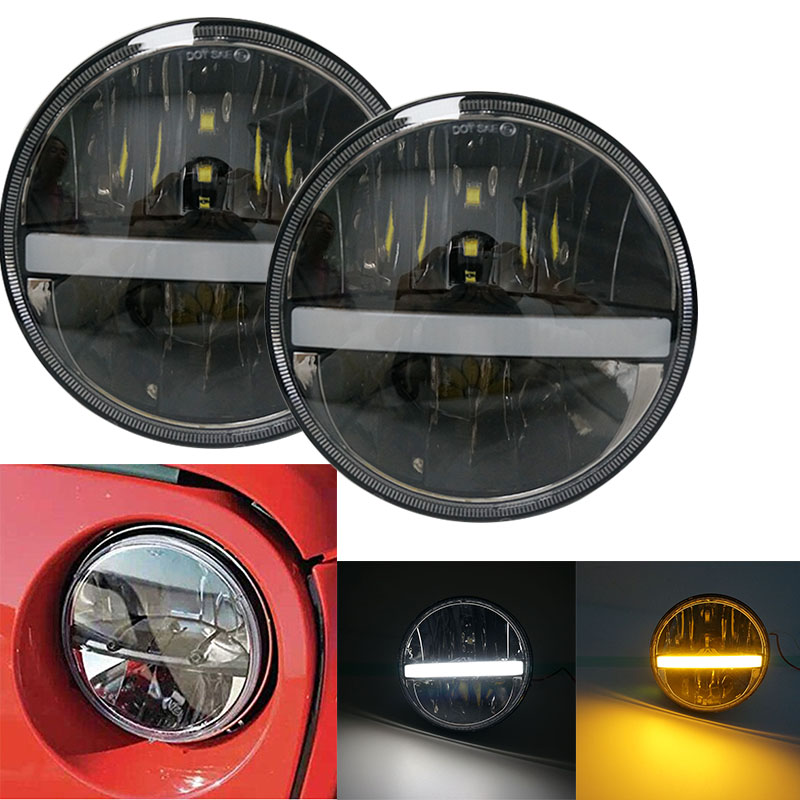 36W 7 Inch led headlight led Driving lights High Low Beam Turn signal DRL for Jeep Wrangler JK CJ TJ Motorcycle Off road 4x4 7 inch round chrome led headlight drl 80w hi low beam for for jeep wrangler jk cj tj lj drl super bright motorcycle