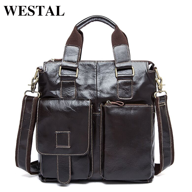 WESTAL Genuine Leather Men Bag men s Briefcase leather Men s Messenger Bags male Tote Shoulder