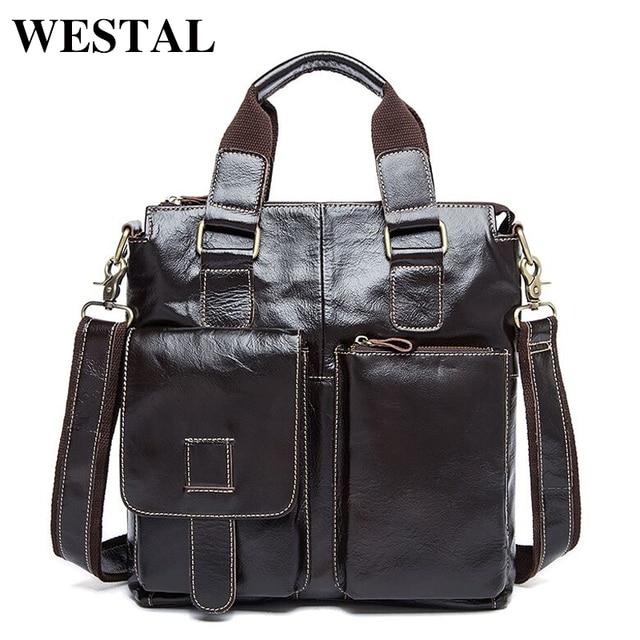 WESTAL Genuine Leather Men Bag men s Briefcase leather Men s Messenger Bags  male Tote Shoulder bag crossbody d7734dd5f8c74