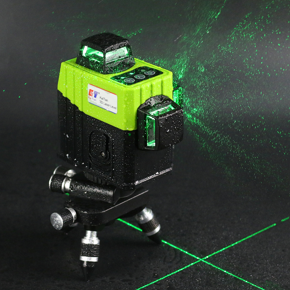 Kaitian Green Laser Level 360 Nivel Laser 12 Lines Rotary Line Lazer Level 3D Leveling Profissional Measuring construction Tools kaitian green laser level 12 lines 3d nivel laser line 360 rotary construction tools tripod 5 8 receiver bracket for lazer level